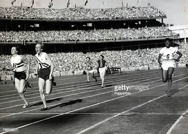 Sport Athletics 1956 Olympic Games Melbourne Australia Womens 4 x100 metres Final Australia's Betty Cuthbert beats Great Britain's Heather Armitage...