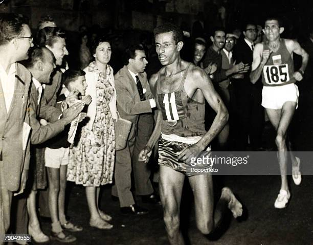 Sport, Athletics, 1960 Olympic Games, Rome, Italy, 10th September 1960, Ethiopia's Abebe Bikila, front, on his way to winning the Gold medal in the...