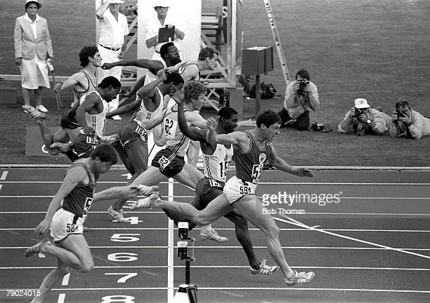 Sport Athletics 1982 Commonwealth Games Brisbane Australia Men's 100 Metres Final Scotland's Allan Wells takes the gold medal in the Final followed...