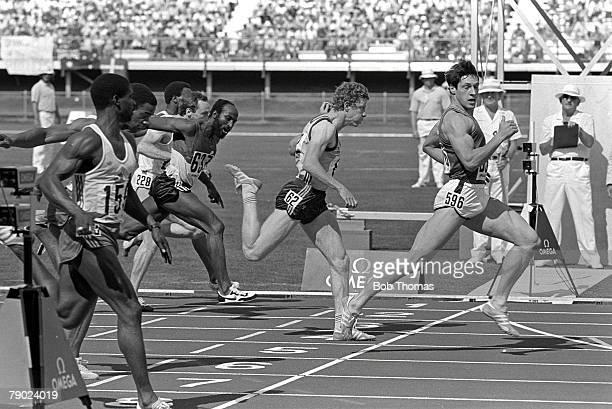 Sport Athletics 1982 Commonwealth Games Brisbane Australia Men's 100 Metres Heats Scotland's Allan Wells eases up as he crosses the finishing line in...
