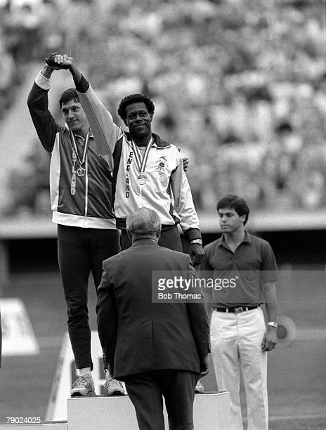 Sport Athletics 1982 Commonwealth Games Brisbane Australia Men's 200 Metres Final Scotland's Allan Wells and England's Mike McFarlane who tied for...