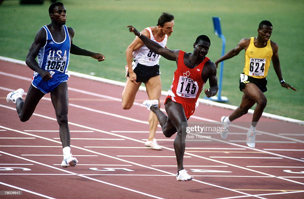 Sport. Athletics. IAAF World Championships. Rome, Italy. 30th August 1987. Mens 100 metres Final. Canada's Ben Johnson (145) crosses the line to take the Gold medal, and in doing so breaks the World Record with a time of 9.83 seconds. However, following t : News Photo