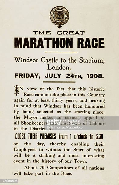 Sport, Athletics, Olympic Games, London, The Marathon, Friday 24th July 1908, An original handbill issued by the Mayor's office in Windsor and...