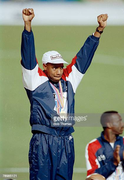 1991 3rd World Athletics Championships in Tokyo Mens Long Jump Final Mike Powell USA the Gold Medal winner with a new world record celebrates on the...
