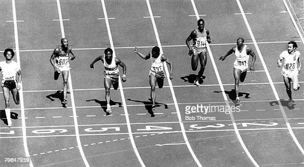 Sport Athletics pic 2nd September 1972 1972 Olympic Games in Munich Mens 100 metres Heat Left Reynaud Robinson 1st Philippe Clerc Switzerland 2nd