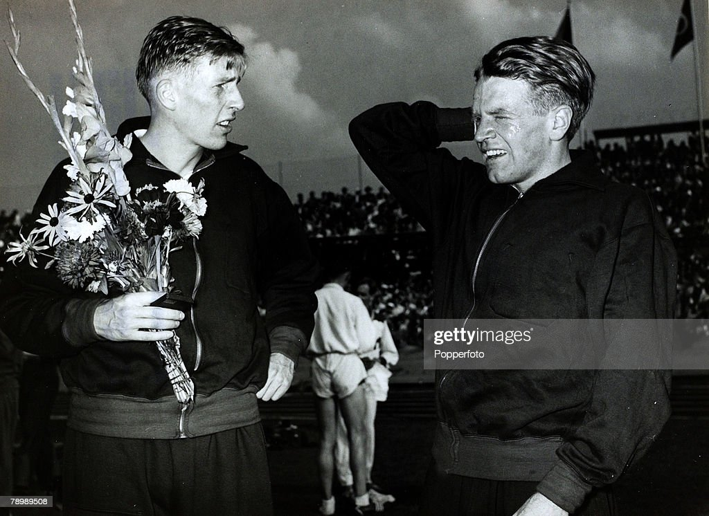 31st August 1954, Bern, Switzerland, Britain's top middle distance runners Roger Bannister, left and Chris Chataway, British runner Roger Bannister, born 1929 in Harrow, will always be remembered as the the first man to break the 4 minute mile barrier which he achieved at Oxford on 6th May 1954 when he won in 3 mins 59,4 secs