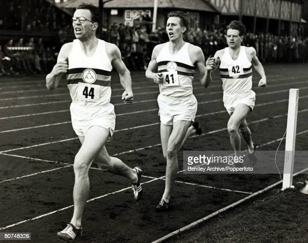6th May 1954 Oxford Chris Brasher leads Roger Bannister the eventual winner and Chris Chataway in the famous Mile race at Ifley Road British runner...