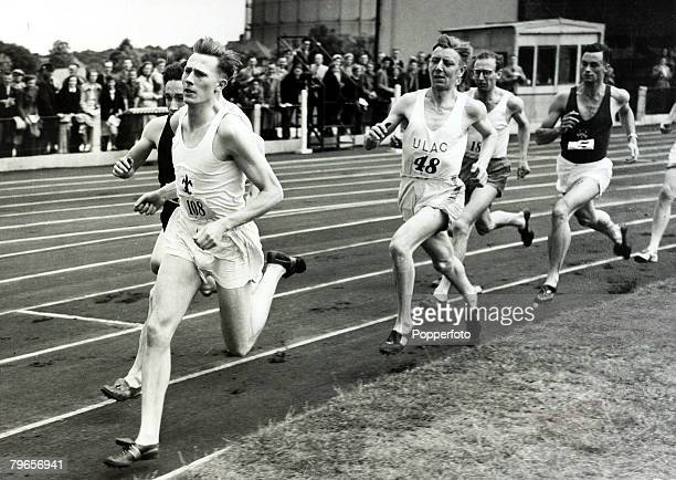 7th June 1952 Motspur Park Surrey Roger Bannister leads the other runners in the Mile event at the United Hospitals meeting British runner Roger...