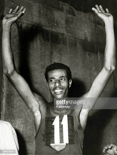 Sport, Athletics, pic: September 1960, 1960 Olympic Games in Rome, Ethiopia's Abebe Bikila celebrates winning the gold medal in the Men's Marathon...