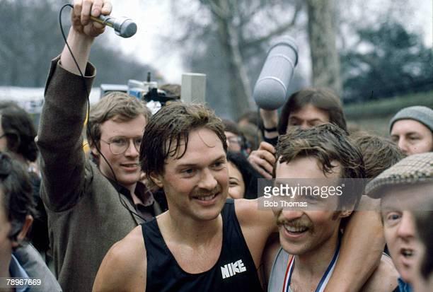 Sport, Athletics, The 1981 London Marathon, pic: 29th March 1981, The joint winners of the 1st London Marathon, Inge Simonsen, left and Dick...