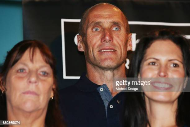 Sport Australia Hall of Fame Inductee and legend AFL footballer Tony Lockett poses at the National Sport museum before the Annual Induction and...