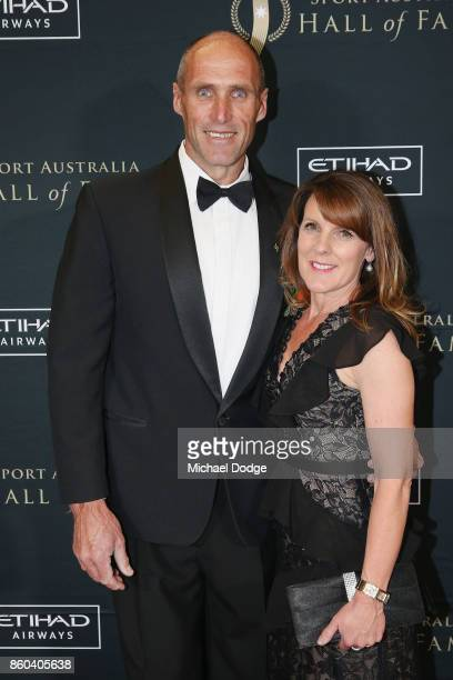 Sport Australia Hall of Fame Inductee and legend AFL footballer Tony Lockett poses with wife Vicki at the Annual Induction and Awards Gala Dinner at...