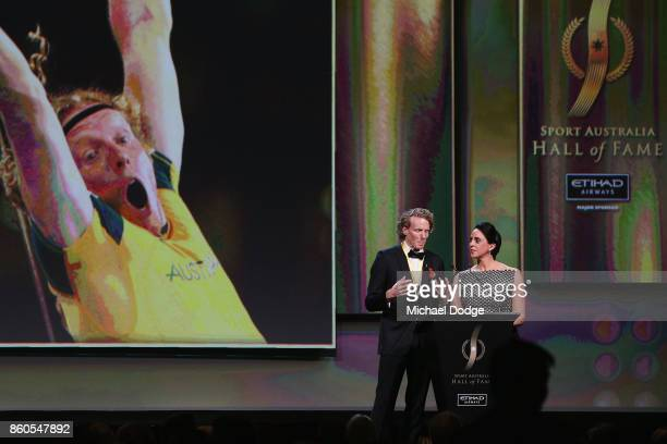 Sport Australia Hall of Fame inductee and legend polevaulter Steve Hooker speaks on stage at the Annual Induction and Awards Gala Dinner at Crown...