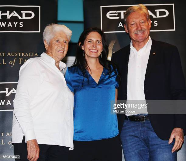 Sport Australia Hall of Fame Inductee and legend Taekwondo gold medallist Lauren Burns poses with sporting legends Dawn Fraser and John Bertrand at...