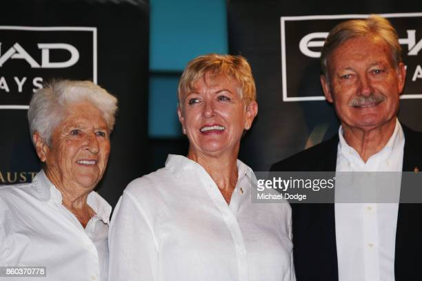 Sport Australia Hall of Fame Inductee and legend Water polo pioneer Debbie Handley Cummins poses with sporting legends Dawn Fraser and John Bertrand...