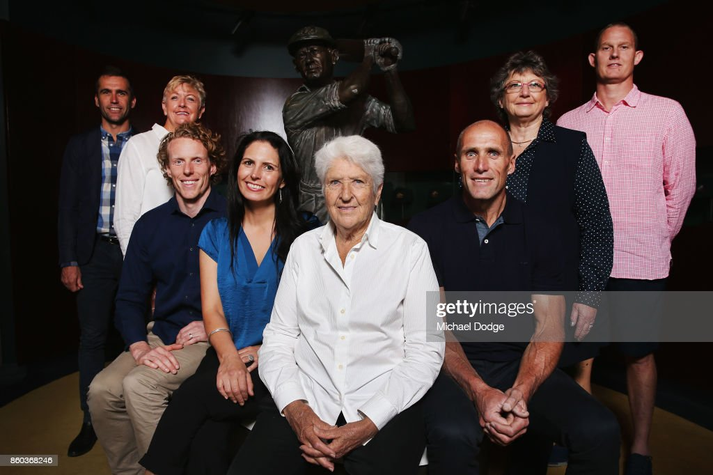 Sport Australia Hall of Fame Inductees (l-r) Cyclist Brad McGee Water polo pioneer Debbie Handley Cummins, pole vaulter Steve Hooker Taekwondoe gold medallist Lauren Burns, AFL footballer Tony Lockett, sports medicine Dr Grace Bryant and basketballer Troy Sachs pose with Hall Of Fame legend Dawn Fraser (C) before the Annual Induction and Awards Gala Dinner at Crown Palladium on October 12, 2017 in Melbourne, Australia.