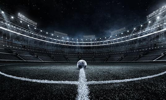 Sport Backgrounds. Soccer stadium. Soccer ball on stadium. Football poster. 1168591951