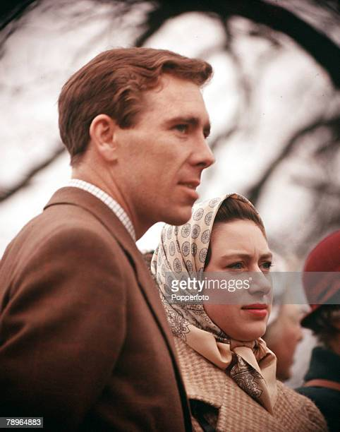 Sport Badminton Horse Trials Gloucestershire England 23rd April 1960 Lord Snowdon is pictured with Princess Margaret as they watch the action