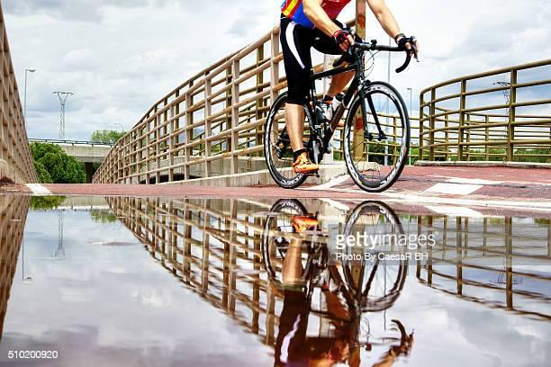 Sport bike along the bike path on the outskirts of Madrid.
