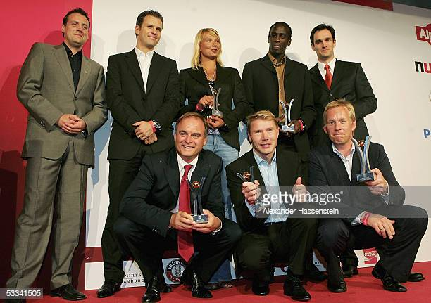 Sport Bild Award winner 2005 poses with their Awards seen LR back row Pit Gottschall Oliver Bierhoff Franziska van Almsick Otto Addo Frank Mahlberg...