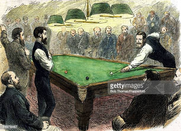 Sport Billiards Colour illustration pic circa 1870's This illustration shows the farewell match between William Cook and John Roberts Junior the...