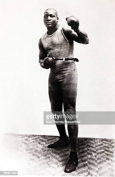 Sport Boxing 1900's Jack Johnson USA the first black Heavyweight champion of the world He beat Tommy Burns in Australia in 1908 for the title but...