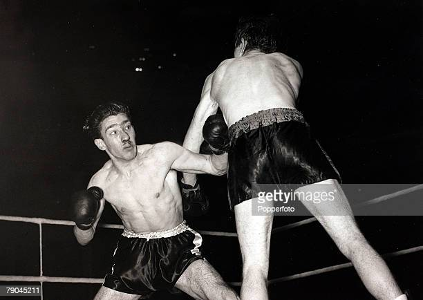 Sport Boxing Albert Hall London England 11th December 1951 Lightweight Boxing Ronnie Kray takes a heavy punch to the chest during the fight he lost...