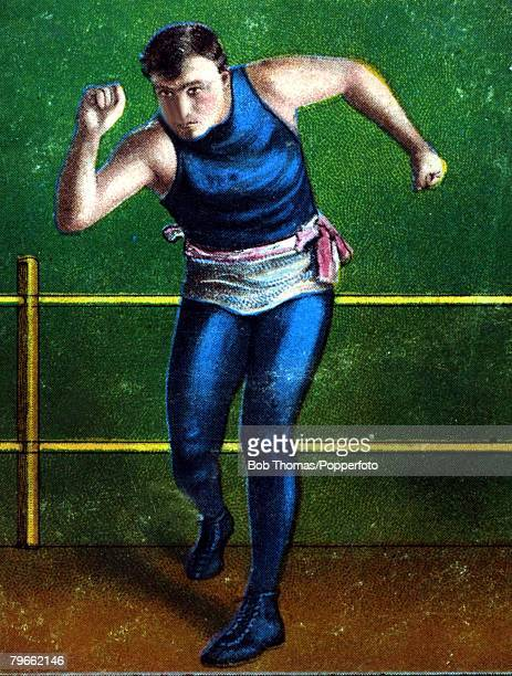 Sport Boxing Cigarette card Circa 1900 Tommy Burns Canadian born fighter who won the World Heavyweight Championship in 1906 and fought all the top...