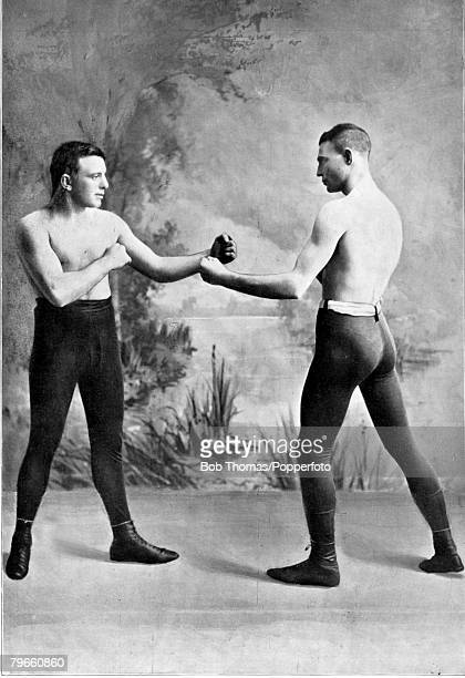 Sport Boxing circa 1894 Young Griffo in a posed sparring picture with Canadian born boxer Walter Campbell 'Young Griffo' was an Australian boxer who...