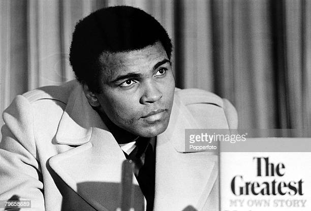 Sport Boxing England 9th March 1976 Muhammad Ali The World Heavyweight Champion appears at a launch in London to promote the release of his book 'The...
