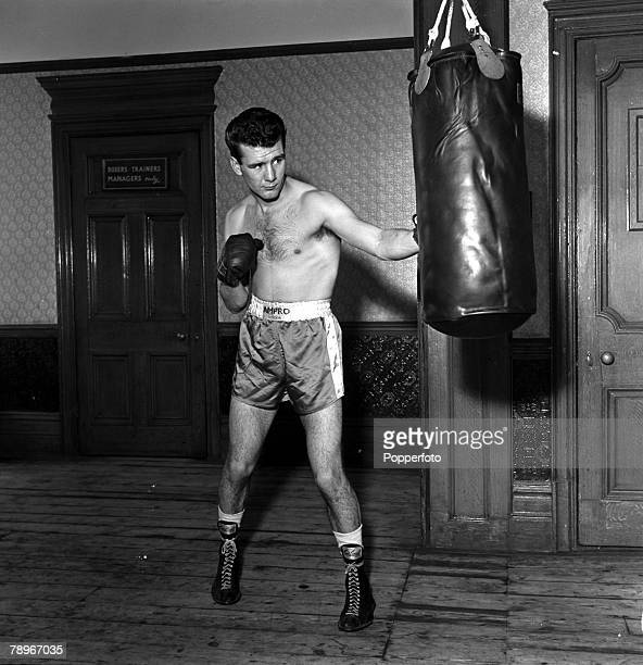 Sport Boxing England British Champion Boxer Peter Waterman the brother of actor Dennis Waterman is pictured working the heavy bag in training