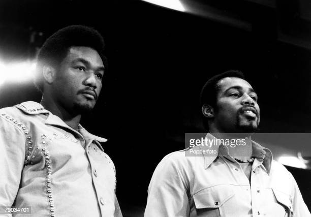 Sport Boxing Heavyweight Title Challenge New York March 1971 American Heavyweights George Foreman and Ken Norton together at a press conference