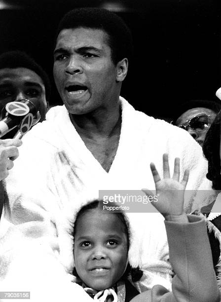 Sport Boxing Heavyweight Title Challenge New York USA 7th March 1971 Muhammad Ali talks to Press after weighing in for the fight against the...