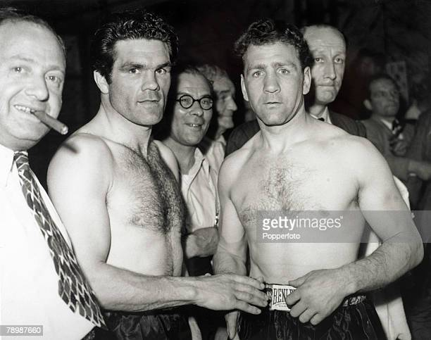 Sport Boxing London England World Lightweight Championship British challenger Freddie Mills with champion Gus Lesnevich of the USA prior to the fight