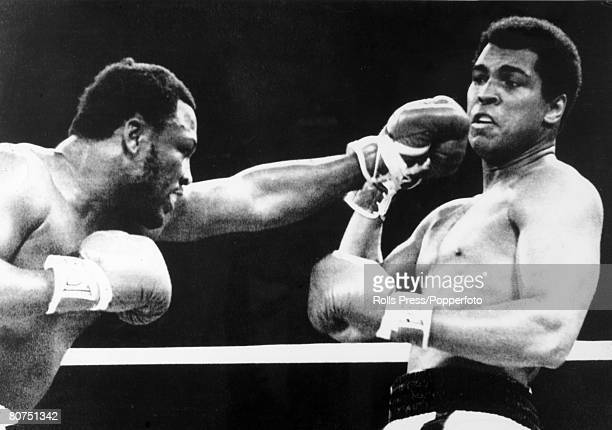 1st October 1975 World Heavyweight Championship The Thrilla in Manila First Round Heavyweight Champion Muhammad Ali right who beat challenger Joe...