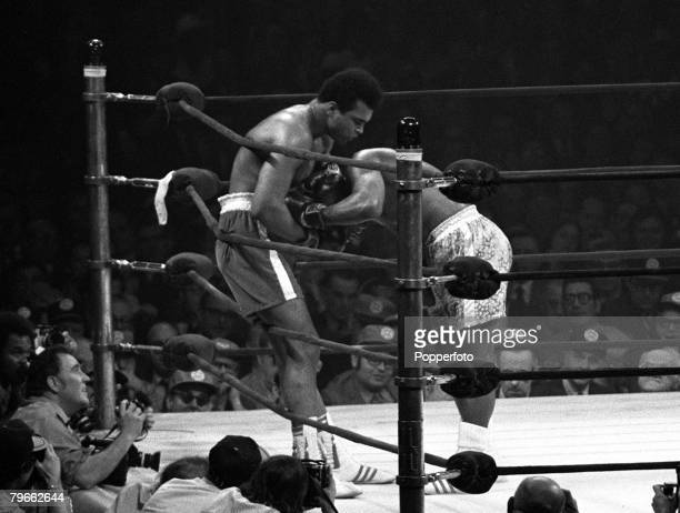 Sport Boxing New York USA 8th March 1971 World Heavyweight Champion Joe Frazier powers into challenger Muhammad Ali as he pounds out a points win...