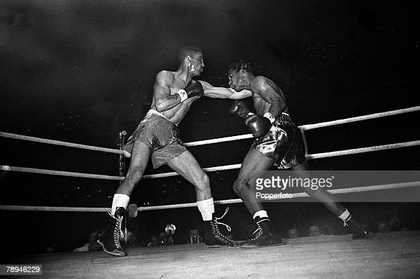 10th July 1951 Great Britain's Randolph Turpin left on his way to beating the World Middleweight Champion Sugar Ray Robinson USA on points over 15...