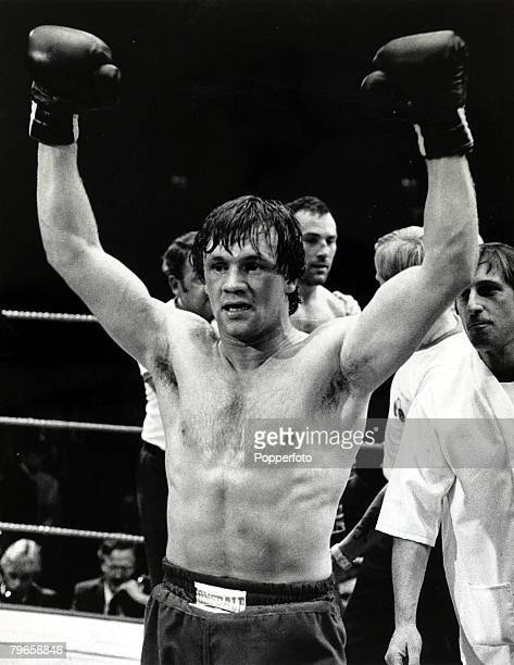 15th September 1981 Middleweight Championship of Europe at Wembley Great Britain's Tony Sibson arms raised in celebration after beating fellow Briton...