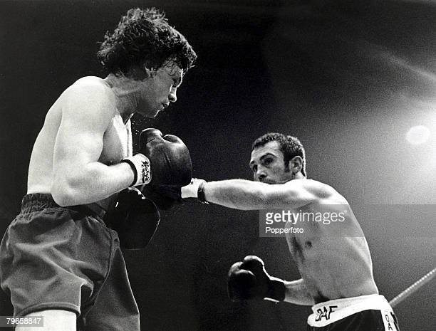 15th September 1981 Middleweight Championship of Europe at Wembley Great Britain's Tony Sibson left takes on fellow Briton Alan Minter knocking him...