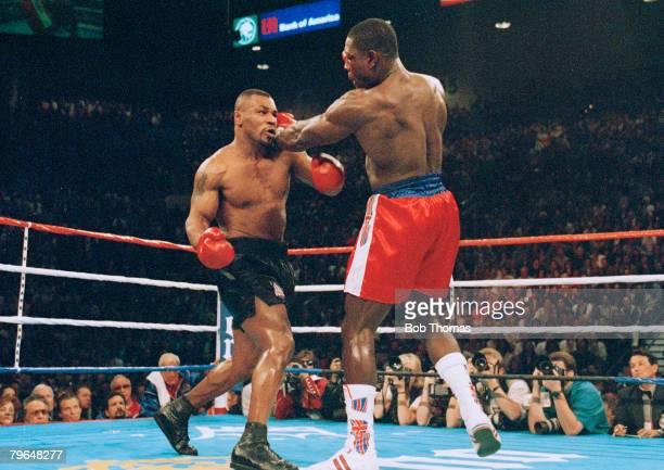 16th March 1996, WBC, World Heavyweight Championship, Las Vegas, Mike Tyson beat Frank Bruno , Challenger Mike Tyson, left, stopped Frank Bruno in...