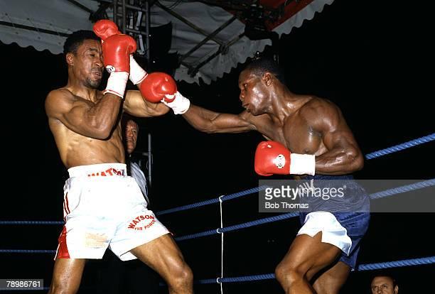 21st September 1991 WBO Super Middleweight Championship at White Hart Lane London Chris Eubank right beat Michael Watson Michael Watson suffered...