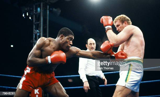 24th October 1987 Heavyweight Boxing at White Hart Lane Frank Bruno right beat Joe Bugner with Bugner stopped in the 8th round