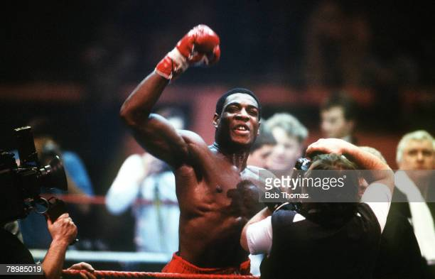 4th March 1986, WBA,Heavyweight Eliminator at Wembley, Frank Bruno beat Gerrie Coetzee, Great Britain's Frank Bruno celebrating his k,o, victory in...