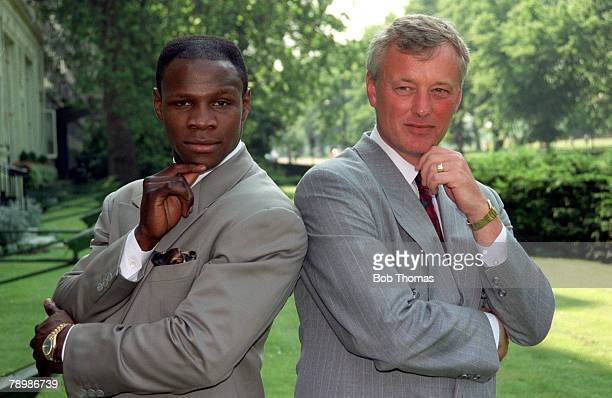circa 1990 British middleweight champion Chris Eubank left and Boxing promoter and Matchroom Head Barry Hearn