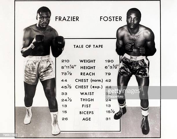Sport Boxing The tale of the tape The statistics of World Heavyweight Champion Joe Frazier and LightHeavyweight Champion challenger Bob Foster prior...