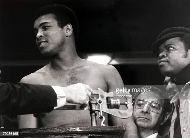 Sport Boxing USA World Heavyweight Championship March 1971 Muhammad Ali weighs in for his Heavyweight Championship title fight against Joe Frazier...