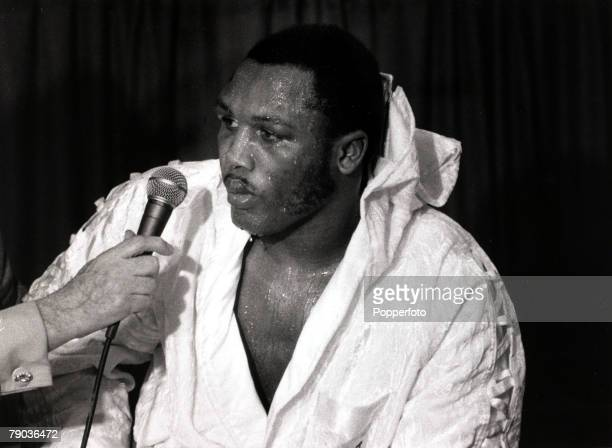 Sport Boxing World Heavyweight Championship Madison Square Garden New York 8th March 1971 Joe Frazier looking battle scarred and weary at a press...