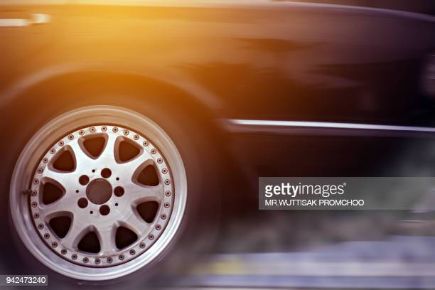 sport car wheel drifting and smoking on track. - fast fashion stock pictures, royalty-free photos & images