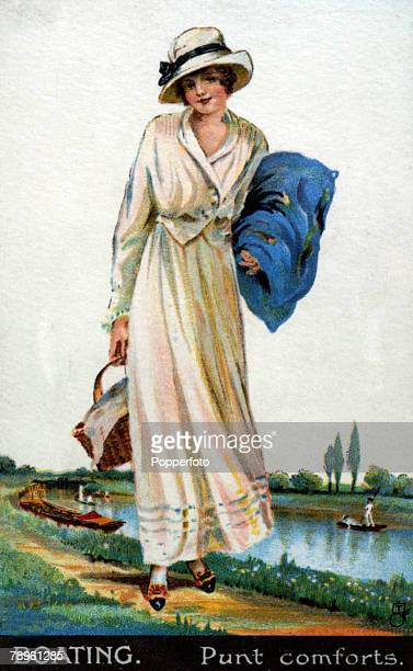 circa 1920 A woman dressed for a boating trip on the river The illustration entitled 'Punt Comforts'