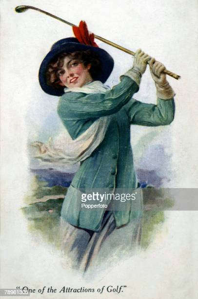 circa 1920 A woman playing golf as she swings her club The illustration entitled One Of The Attractions Of Golf